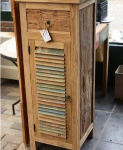 robuust gekleurd houten teak kastje (2)