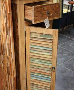 robuust gekleurd houten teak kastje (3)